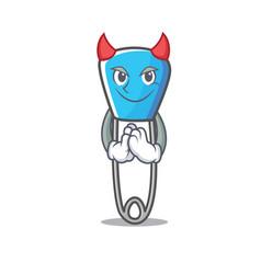 Devil safety pin mascot cartoon vector