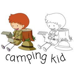 Doodle camping kid character vector