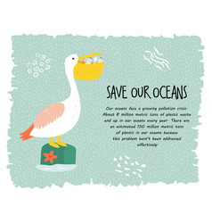 eco poster with pelican stop plastic pollution vector image
