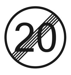 End maximum speed limit 20 sign line icon vector