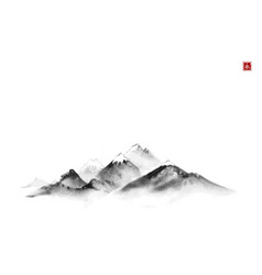 Far mountains with snow top hand drawn with black vector