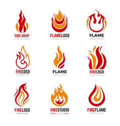 flame logo burning fire graphic symbols for vector image