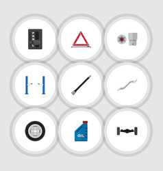 flat icon auto set of auto jack turnscrew petrol vector image