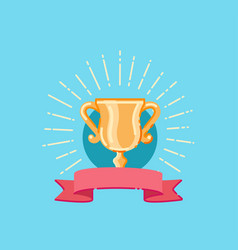 flat trophy cup award and red ribbon vector image