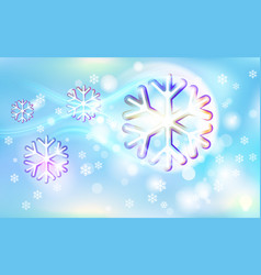 Flying like a comet motley snowflakes on a chaotic vector