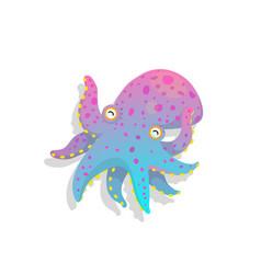 Funny baoctopus kids aquatic character cartoon vector