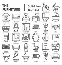 furniture line icon set interior symbols vector image