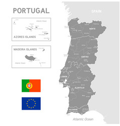 grey political map portugal vector image