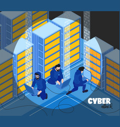 hackers isometric background composition vector image
