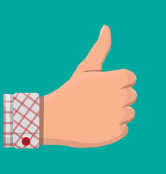 hand shows thumb up vector image