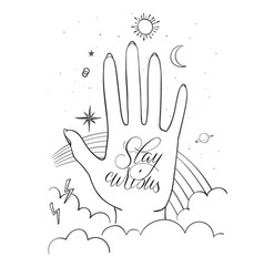 hands palm with sacred and science symbols stay vector image