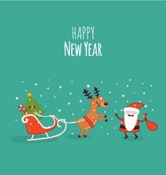 Happy newyear card christmas deer vector