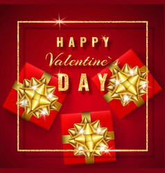 happy valentines day golden glitter sparkle red vector image