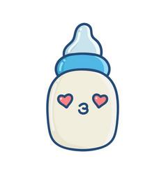 kawaii baby bottle cartoon vector image