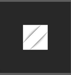 letter z logo initial white square shape hipster vector image