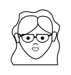 line happy beautiful woman with glasses and vector image