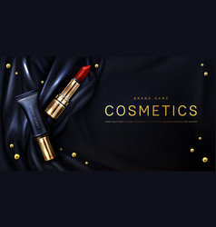 Lipstick cosmetics make up beauty product banner vector