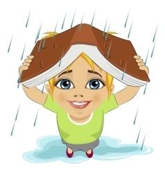 Little girl using book like protection of rain vector image