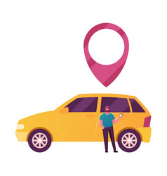 Male character use car sharing service vector