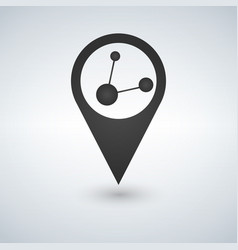 map pointer logo with share connection in vector image
