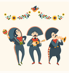 Mariachi band plays musical instruments vector