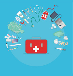 medical equipment with red box flat web and print vector image