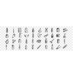 medicine doodle set vector image