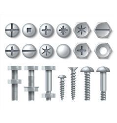 Metal bolt and screw realistic steel nails vector