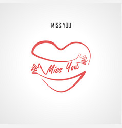 Miss you typographical design elements vector