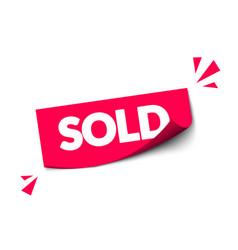Modern red sold sticker for webshop vector