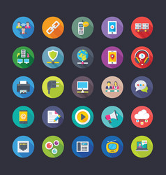Network and communication flat icons set vector