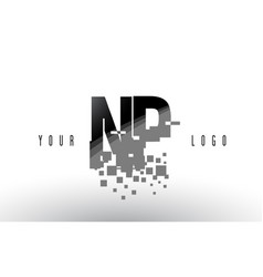 np n p pixel letter logo with digital shattered vector image