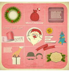 Old Christmas and New Year Card vector image