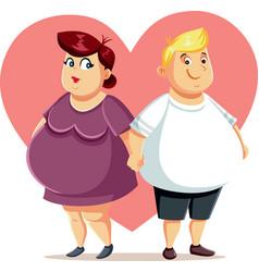 overweight couple feeling in love cartoon characte vector image