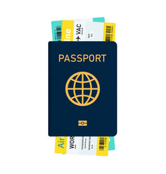 Passport with tickets and boarding pass vector