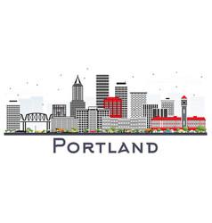 Portland oregon city skyline with gray buildings vector