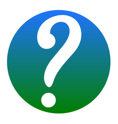 question mark sign white icon in bluish vector image