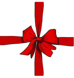 red ribbon and bow present vector image