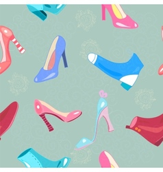 Retro seamless pattern with shoes vector image