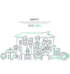 Safety - line design style banner vector