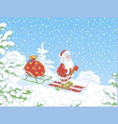 santa claus skiing with his bag of gifts vector image