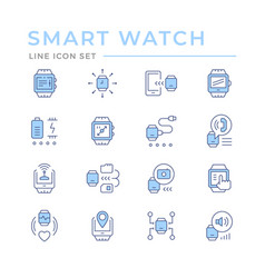 set color line icons smart watch vector image