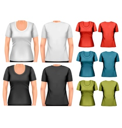 set colorful female t-shirts vector image