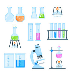 Set lab science icons flat style vector