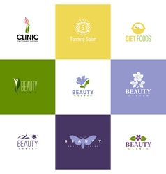 Set of beauty logo templates Icons of flowers vector image