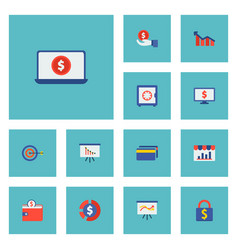 set of finance icons flat style symbols with cards vector image