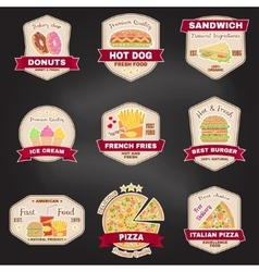 Set of vintage fast food badge banner or logo vector image