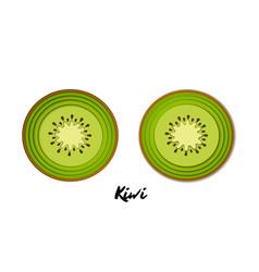 Set paper cut green kiwi cut shapes 3d vector