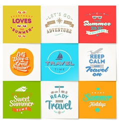set travel and vacation type design vector image