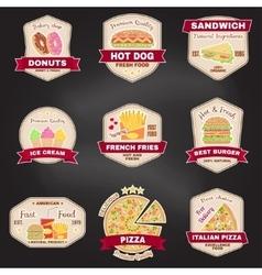 set vintage fast food badge banner or logo vector image